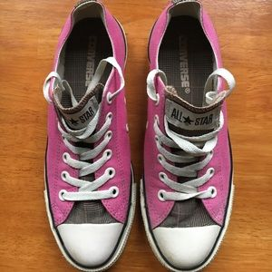 Chuck Taylor pink and plaid low top sneakers
